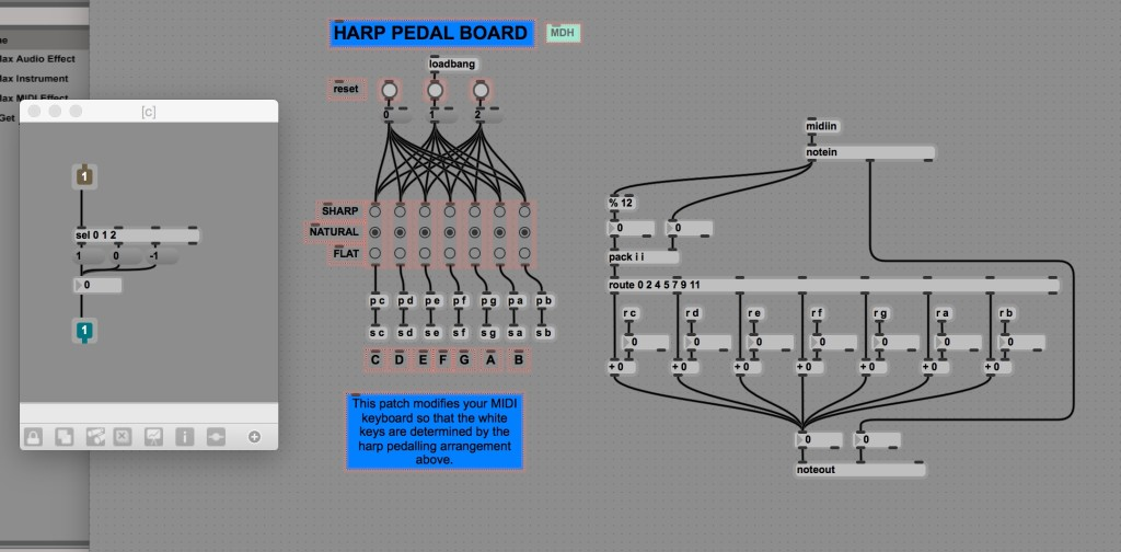 A screenshot of my new Harp Pedal Max patch for Ableton Live.  This patch allows harp pedal-settings to affect only the white keys on a MIDI keyboard allowing for glissandi, etc.
