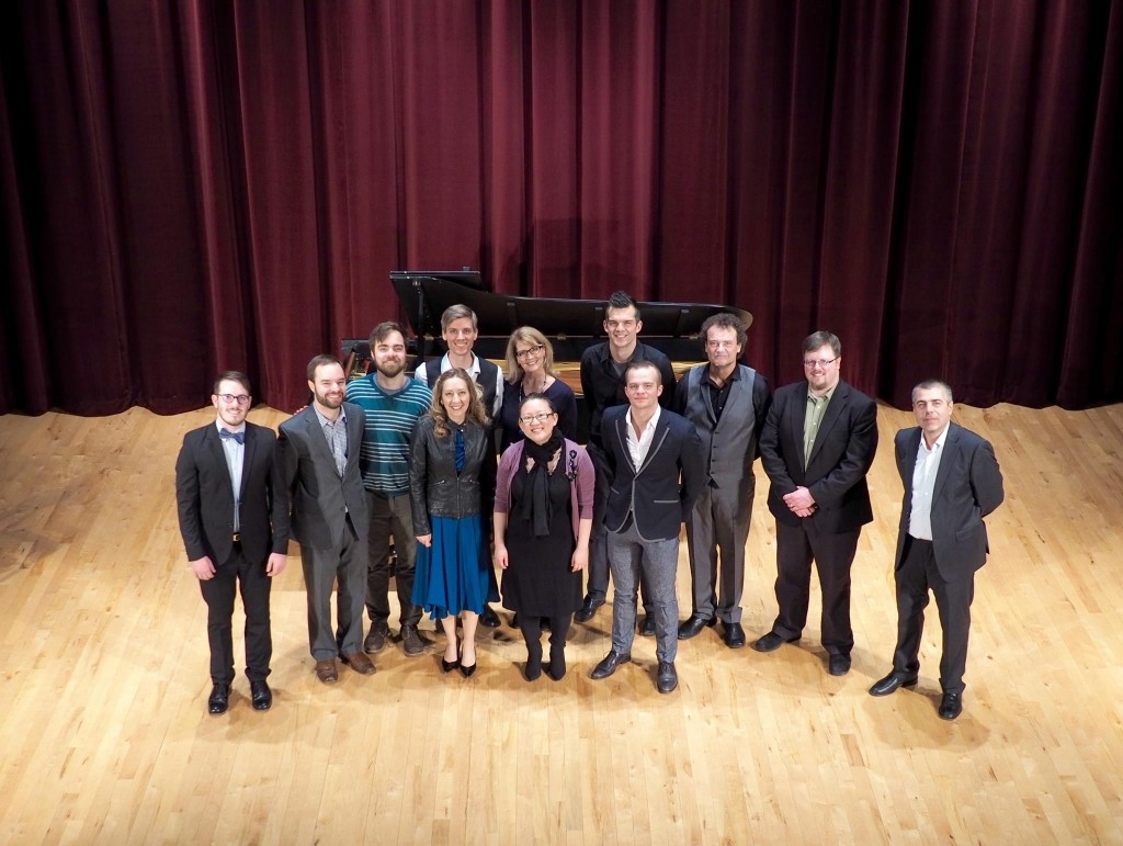 The composers and performers at Illinois Wesleyan after the concert.