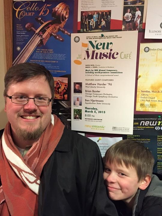 "Me and my son at Illinois Wesleyan's premiere of ""Fragile Space"""